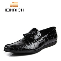 Генрих новый шаблон Мужская кожаная обувь роскошные модные Повседневное мужские лоферы свадебные мужские туфли на плоской подошве мужская