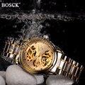 Relojes mecánicos BOSCK reloj de oro esqueleto para hombre relojes mecánicos automáticos para hombre reloj automático de acero inoxidable a prueba de agua