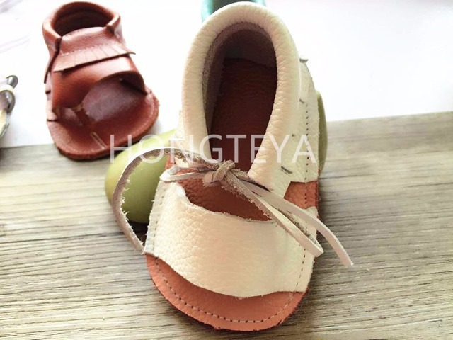 New style handmade summer lace up genuine leather baby girls dress shoes toddler baby  kids boy  moccasins infant  shoes
