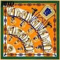 100*100 cm de Luxo Da Marca Cachecol Mulheres 2016 Nova Mulbery Lenço De Seda Quadrado Sarja Cachecol Elegante Xale Lenço De Seda famosa Marca Hijab