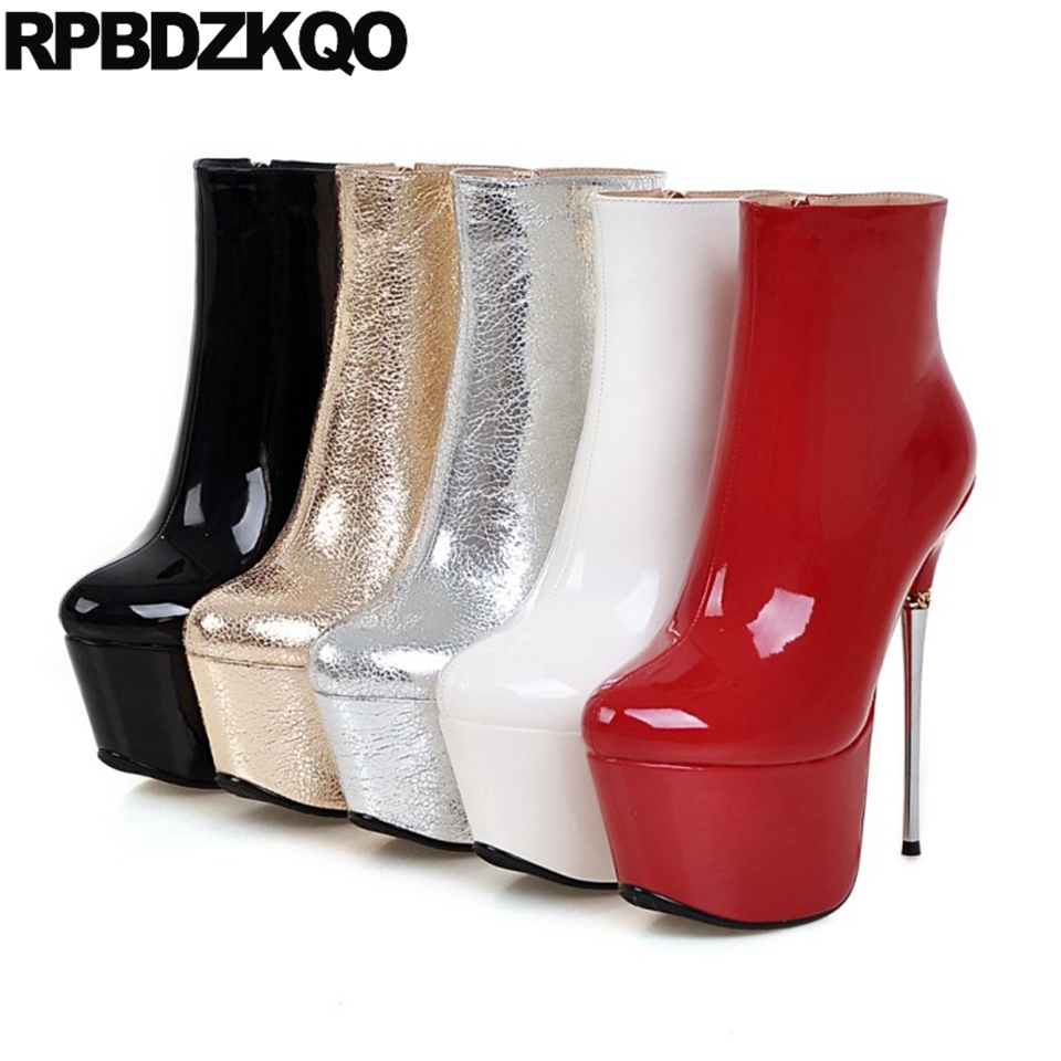 2be3281fba9 Patent Leather Metallic Extreme Ankle Big Size Shoes Waterproof Fetish  White Platform Boots Metal High Heel Women Stiletto Sexy