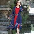 Осень-Весна Новый Синий Вышитые Щель С Длинным Рукавом Тенденции Пальто Женщин Новая Мода Повседневная Кардиган Пальто Vintage Style