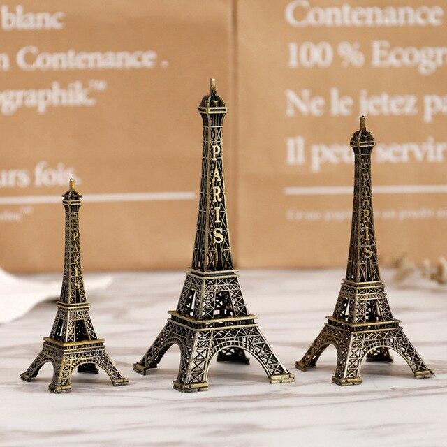 8cm-18cm Vintage Metal Paris Eiffe Iron Tower Bronze Style Figurines Craft Retro Antique Model Home Desk Decor Ornament Gift 3