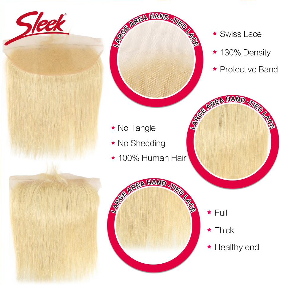 Image 4 - Sleek Colorful Hair Mink Blonde 613 Bundles With Lace Frontal Brazilian Body Wave2 3 4 Bundles With Frontal Remy Hair Extension-in 3/4 Bundles with Closure from Hair Extensions & Wigs