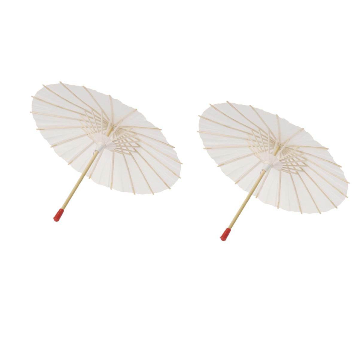 2Pcs White Paper Parasol Craft Decorative Chinese Japanese Paper Umbrella For Baby Shower Anniversary Wedding Birthday