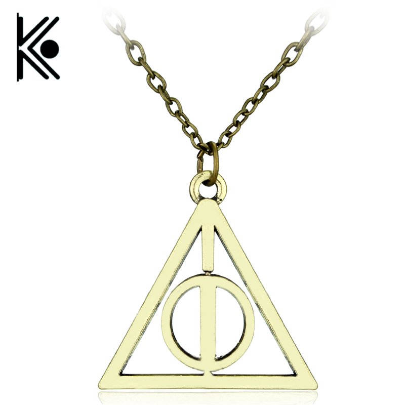 wholesale 1/pc Movie the Deathly Hallows Necklace Fashion Rotated Triangle Pendant Chain Necklace For Women&Men hogwarts ...