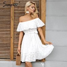 Simplee Sexy off shoulder ruffle hollow out dress Women lace up casual streetwear short dress Flower party white dress vestidos