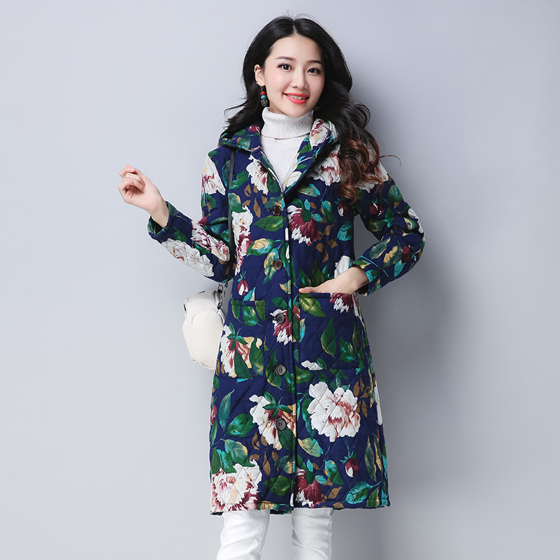 ilstile 2017 Vintage Women Hooded Floral Print Coats Cotton Linen Casual Long Jacket Autumn Winter New Warm Parkas Outwear M-4XL значок pyromaniac big skull black white