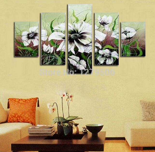 Handmade White Flower Paintings On Canvas Wall Art Abstract Picture ...