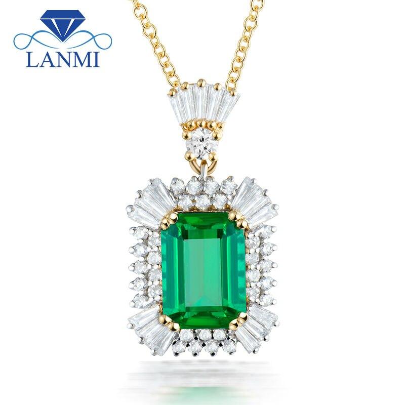 Luxury Women Jewelry Emerald Cut 7x9mm Gemstone Solid 18K Two Tone White Yellow Gold Natural Diamond Emerald Pendant Necklace