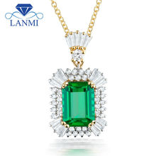Luxury Jewelry Emerald Cut 7x9mm Gemstone Solid 18K Two Tone White Yellow Gold Natural Diamond Emerald Pendants Necklace SR0002