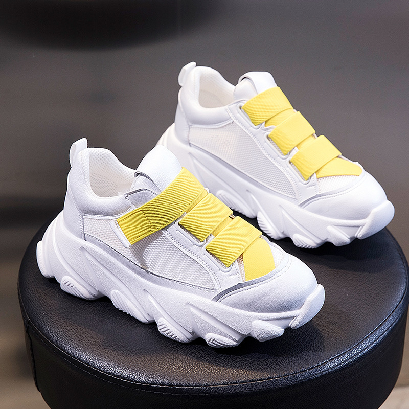 Cuir véritable nouveau été femmes plate-forme chaussures chunky sneaker designer baskets maille blanc chaussures casual dames chaussures de marche