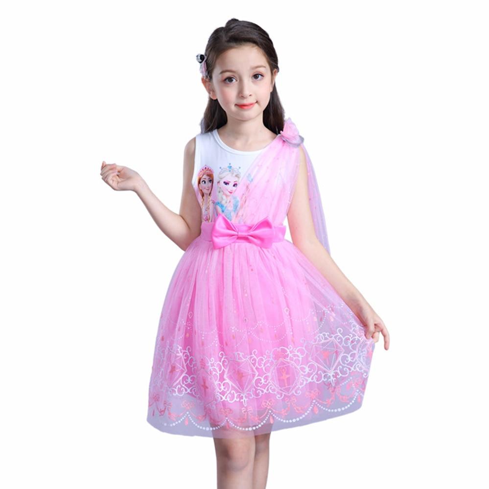 todder girl princess dress 2018 summer for 3 4 5 6 7 8 years short sleeve kids dance show dress frozen elsa children dresses