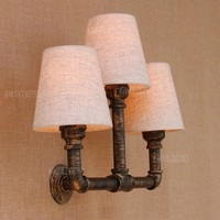 Loft Style Industrial Vintage Wall Light Fixtures For Fabric Lampshade Water Pipe Lamp LED Wall Sconce Indoor Lighting