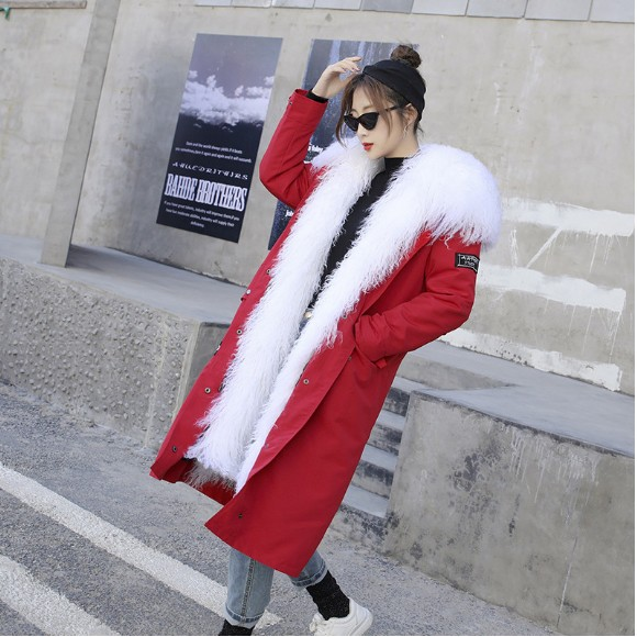 The new style outerwear the female Mongolian beach wool liner fur coat over the knee long paragraph detachable jacket