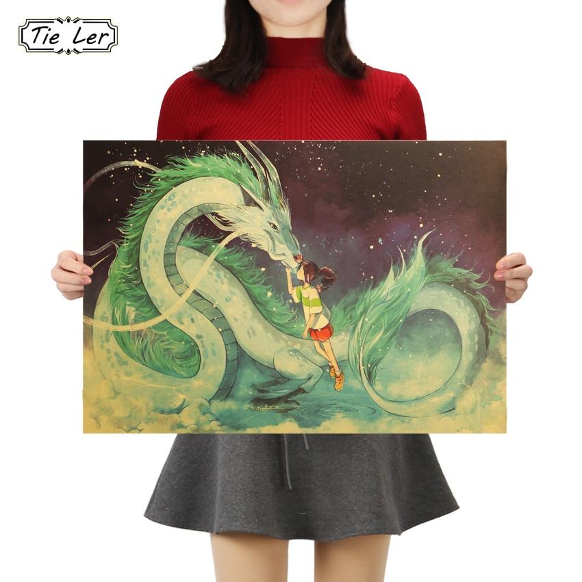 TIE LER Famous Hayao Miyazaki Anime Movie Spirited Away Kraft Paper Poster Decorative Painting Wall Stickers