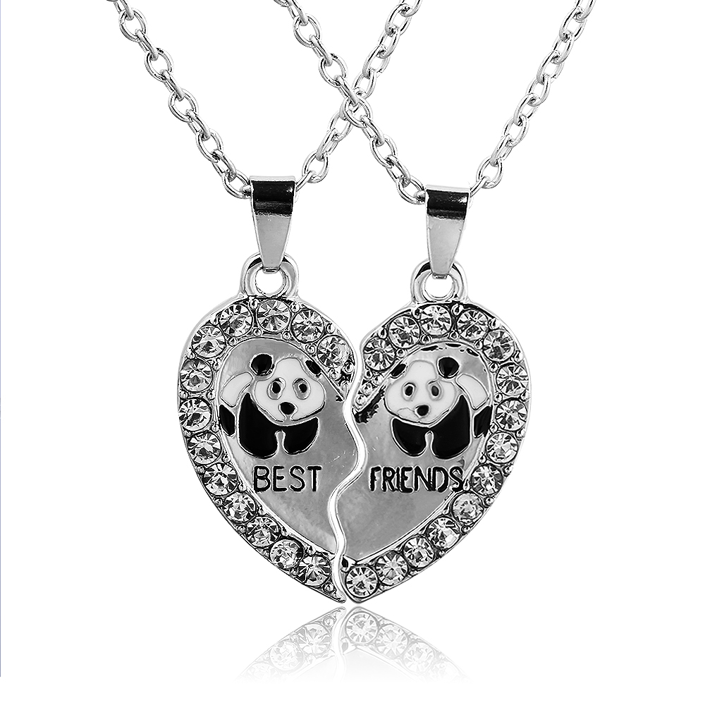 Love Heart Rhinestone Pendant Friends Necklace
