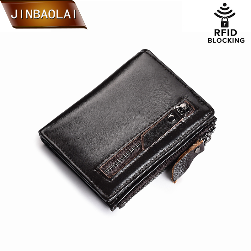 Genuine Leather Wallet Brand Women&Men Wallet RFID Wallet Hasp&Zipper Short Coin Purse Slim Credit Card Holder Wallets carteira joyir wallet women men leather genuine vintage coin purse zipper men wallets small perse solid rfid card holder carteira hombre