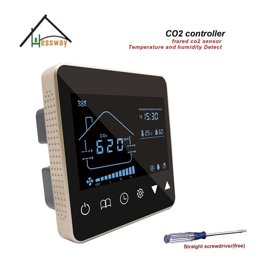 HESSWAY bureau, salle de conférence 3 vitesse air qualité capteur CO2 Dioxyde De Carbone Analyseur De Gaz pour contrôle système d'air