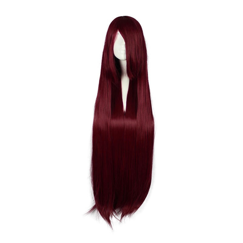 MCOSER 100CM Long Synthetic Straight Wine Red Super Wig Cosplay Party 100% High Temperature Fiber Hair WIG-017K