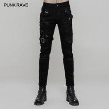 Панк рейв рок моды личности ветхий Готический Повседневная Уличная мужские брюки WK319M