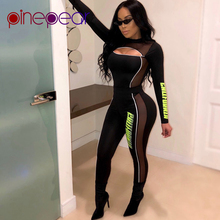 1de252f087bf PinePear Letter Printing Black Mesh Hollow Out Long Pants Sportswear Woman  Fitness