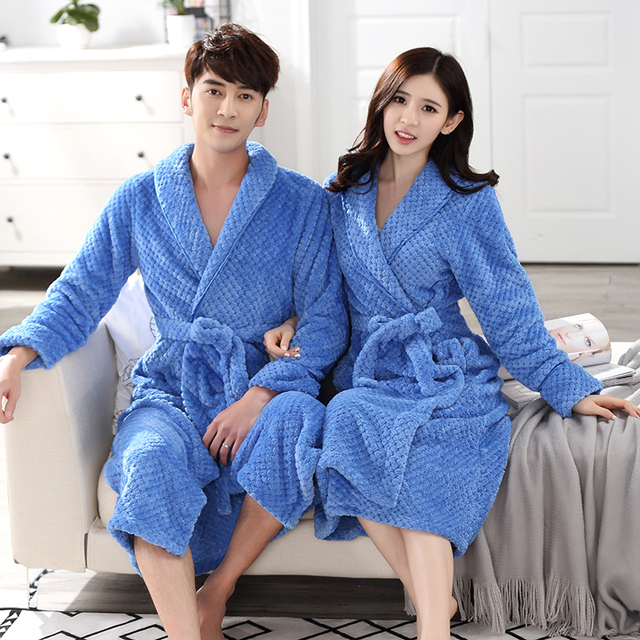 14c127f179 Women Men Winter Thick Warm Ankle Long Bathrobe Soft Flannel Fleece Waffle  Kimono Bath Robe Femme Dressing Gown Bridesmaid Robes