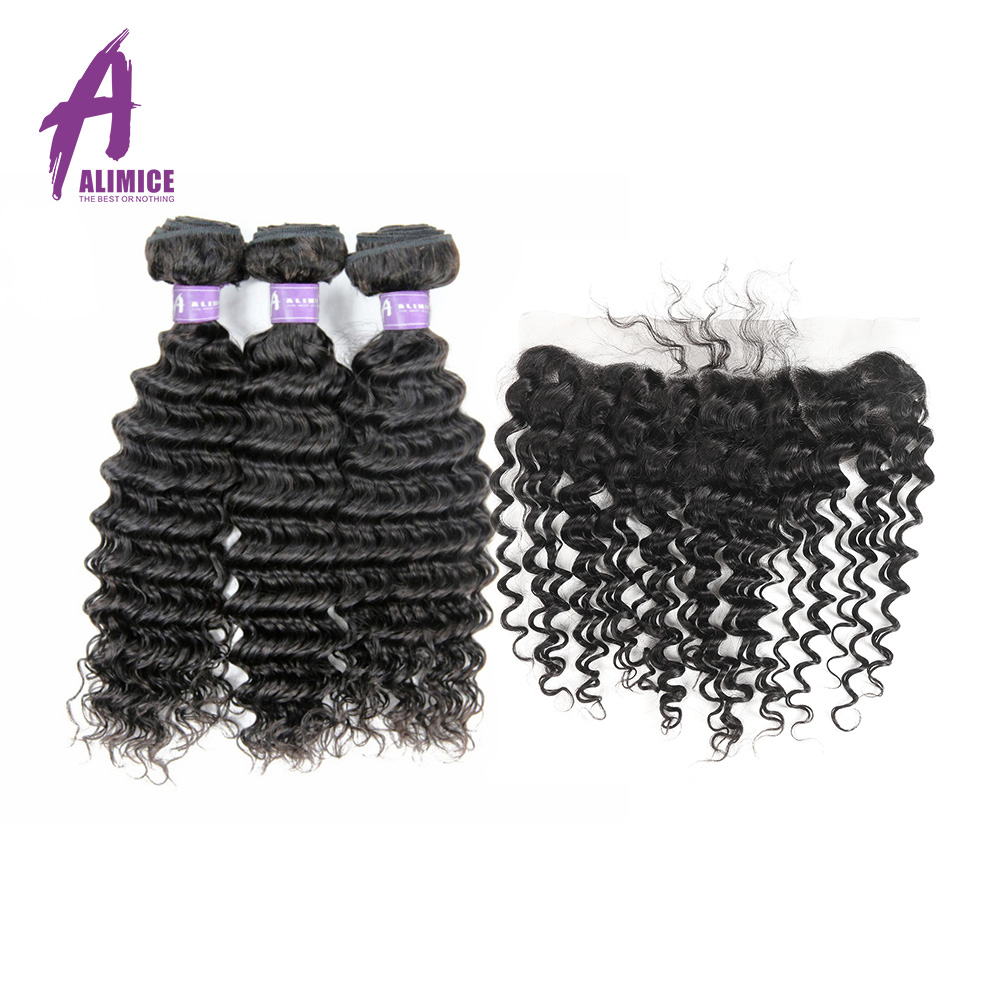 Peruvian Deep Wave 3 Bundles Hair Weft With Closure Lace Frontal Closure With Hair Bundles Alimice Non Remy Human Hair Weave