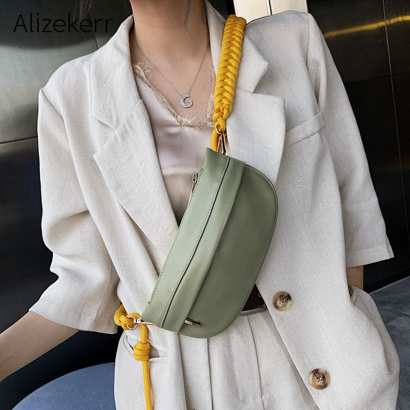 Fashion Chest Bags For Women New Korean Personality Green Woven Shoulder Strap Waist Bag Female Casual Solid Fanny Pack Simple