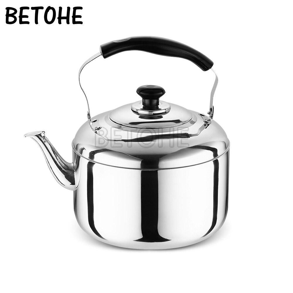 BETOHE acier inoxydable 5L d'eau bouilloire cuisinière camping bouilloires poêle bouilloire sifflant d'eau gaz théière cuisson outils cuisine