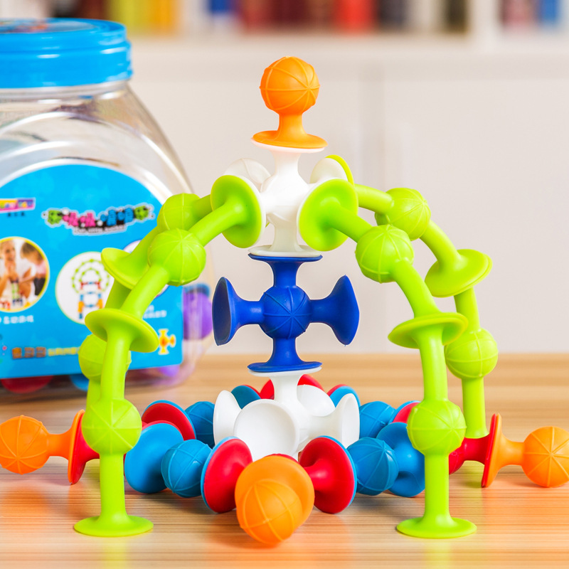 Купить с кэшбэком 33pcs DIY Silicone Building Blocks squigz Assembled squigz Sucker Educational Model Construction Toys For Children Boy