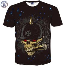 summer t-shirt men hip hop harajuku 3d t-shirt funny print stars and red eyes smoking skull summer t shirt tops tees