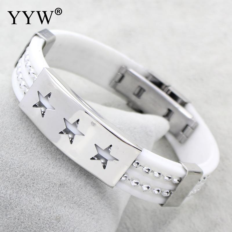 YYW Hot Sale White Silicone Leather Bracelets