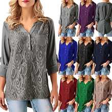8 Colors Plus Size S-5XL Women Chiffon Blouses Spring New Solid Lace Shirts Blusas Female Sexy V-neck Irregularity Womens Tops
