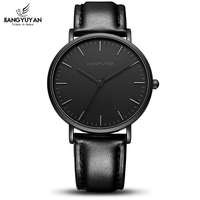 Ultra Thin Watch Men Minimalist Fashion Casual Mens Watches Top Brand Luxury Genuine Leather Strap Quartz Watch Business Man
