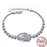 Aceworks 925 Sterling Silver Metal Hollow Hamsa Hand Design Bracelet Bangle Wedding Gift Round Zirconia Jewelry Luxury BC2014