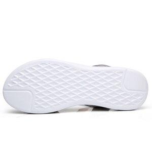 Image 3 - STQ 2020 여성 샌들 여름 정품 가죽 플랫 샌들 발목 스트랩 플랫 샌들 숙녀 흰색 엿봄 발가락 Flipflops 신발 1803