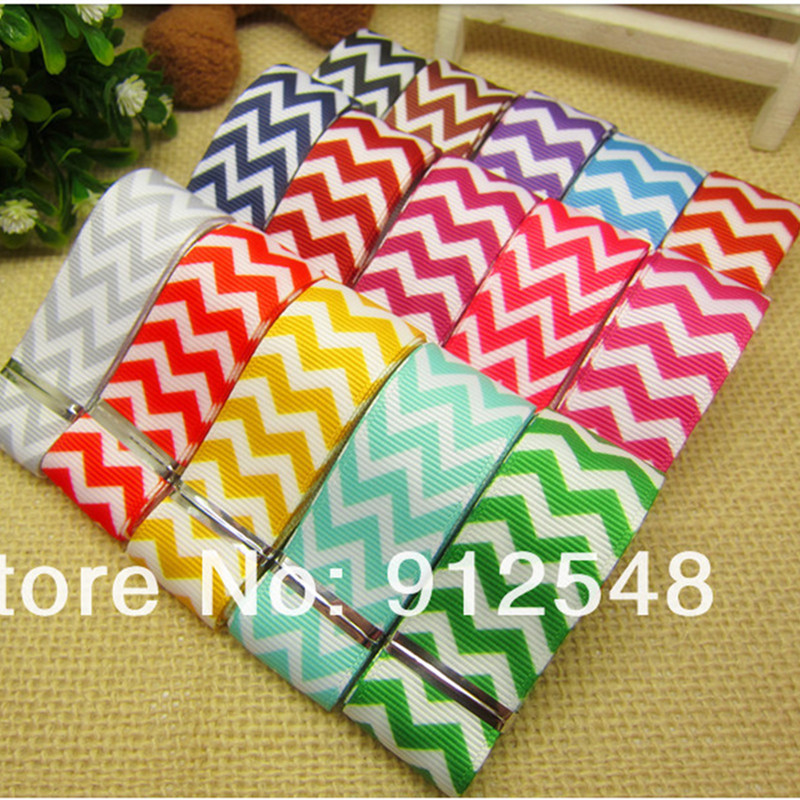 Yjhsmy 7/8/8''22mm 15 farbe mix 5 yard/lot chevron druckte welligkeit band hairbow diy party-deko großhandel, mdbw16 image