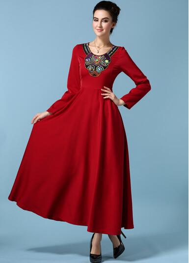 9ecd93eb7 Outono inverno manga longa bordado vestido hippie boho bohemian tunique  longo de lã mulheres casual robe longue femme vestido do vintage