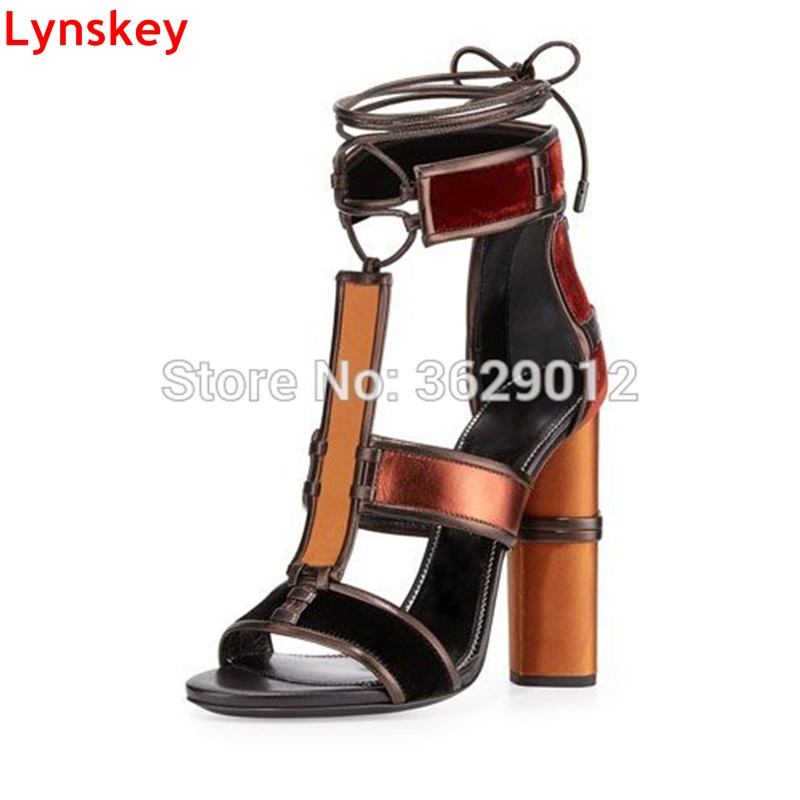Lynskey New Thick Heel Sandals Women Lace up Patchwork Shoes Summer Ankle Strap High Heels Shoes Woman thick strap button up skinny bodysuit