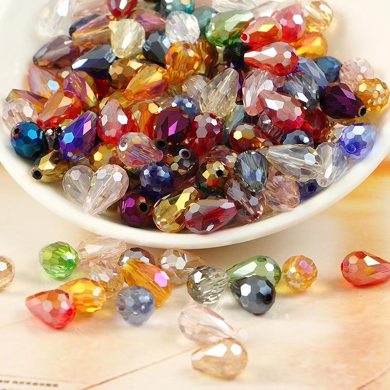 772d8c5972 30 unids/lote 8*12mm forma agua-gota granos de cristal con 23 colores  opcionales para pulsera DIY del arte hairwear cadena