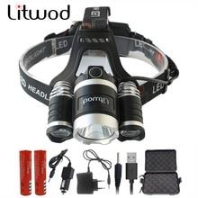 Litwod z10 9000lm  XM-L 3T6 LED Head lamp 4 Modes led headlamp Lantern Hunting Head Flashlight+Car Charger+Battery+USB+Box
