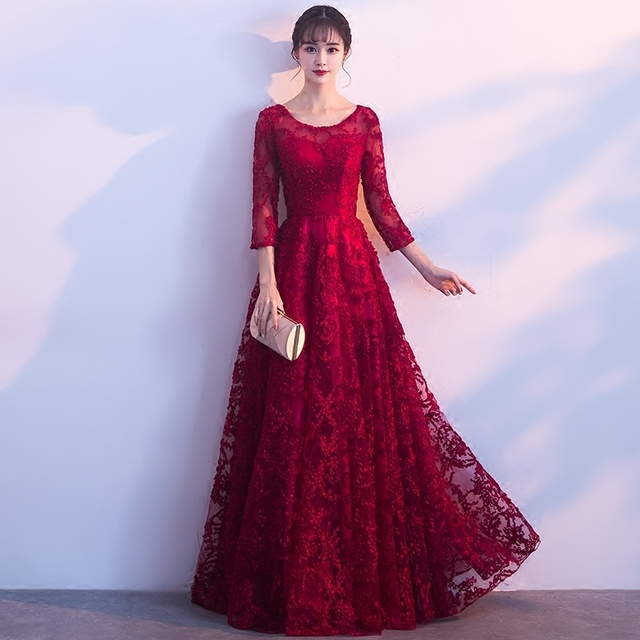 PotN'Patio Red Lace Evening Dresses Elegant O-neck quarter Sleeve A-line  Long Formal Evening Gown Plus Size