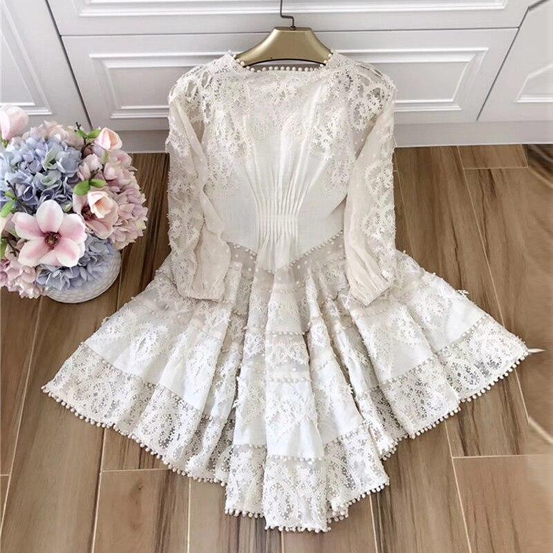 Broderie C Superbe V Lin Conception Femmes Qualité Boutique Haute Crochet Robe Printemps 2019 Summe En cou Sexy Nouveau Manches Bouffantes FZxzH1