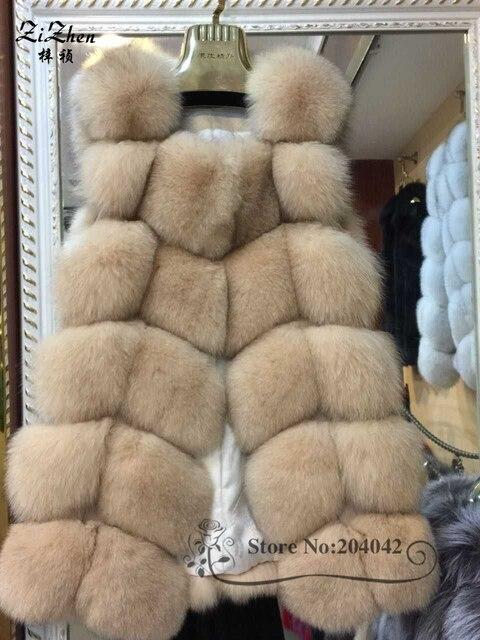 New Winter Genuine Fox Fur Vest Women's Full Pelt Gilet Warm Luxury Real Natural Fox Fur Waistcoat Pockets 20150908-1