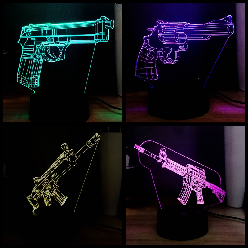 Cool PUBG Gun M416 7 Color Change 3D LED Acrylic Boy Bedside RGB Decor Mood  Night Table USB Lamp Holiday Kids Gift Drop Shipping