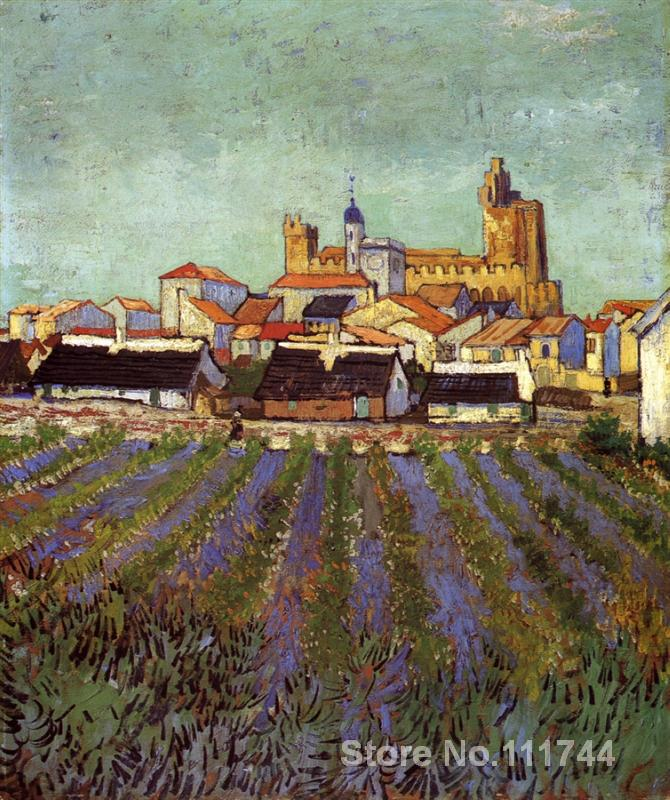 Vincent Van Gogh paintings of View of Saintes Maries impressionism art High quality Hand paintedVincent Van Gogh paintings of View of Saintes Maries impressionism art High quality Hand painted