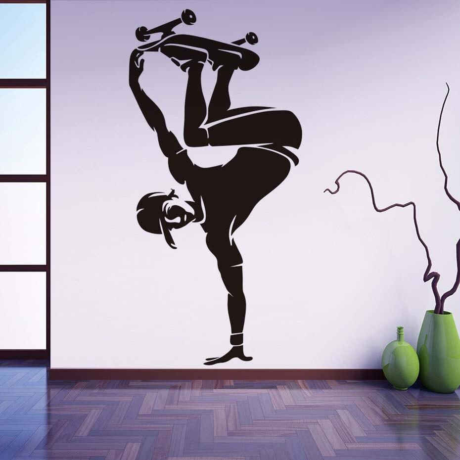 Teenagers Playing Skate Wall Decals Skateboard Living Room Kids Teens Room Wall Sticker Home Decor Adhesive Vinyl Wall Art Mural