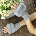 Moda Feminina Senhora Menina Rabbit Fur Mão Wrist Aquecedor do Inverno Luvas Sem Dedos