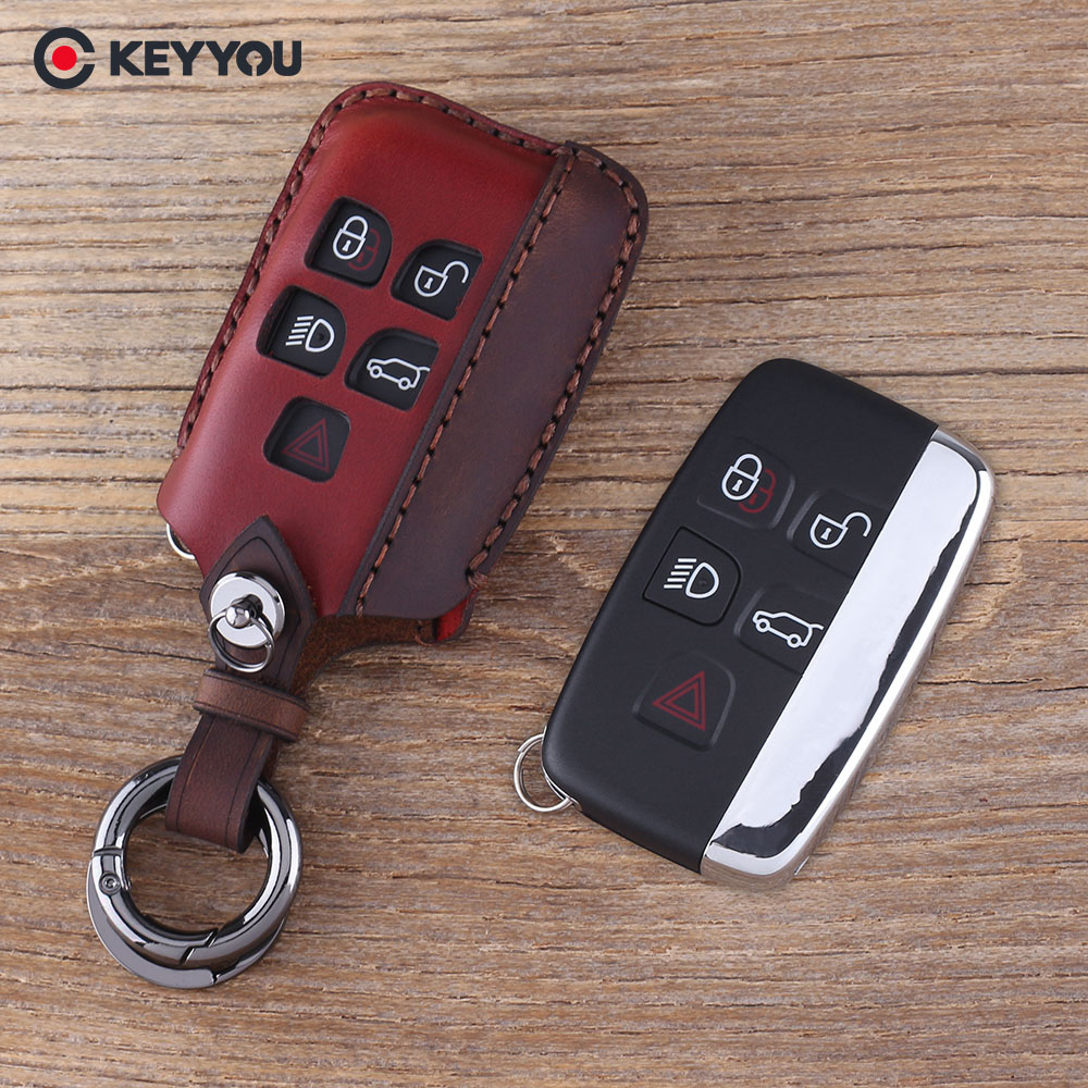 KEYYOU Key Shell Case <font><b>Keychain</b></font> Car Key Bag Fob For Land <font><b>Rover</b></font> <font><b>Range</b></font> <font><b>Rover</b></font> <font><b>Evoque</b></font> Discovery 4 5 Buttons Leather Key Cover image